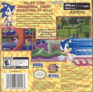 Sonic The Hedgehog Genesis Gba Back Cover