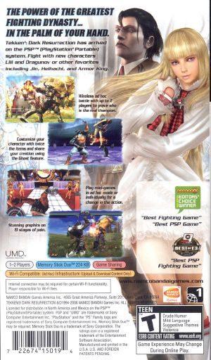 Tekken Dark Resurrection Psp Back Cover