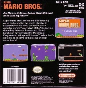 Classic Nes Series Super Mario Bros Gba Back Cover