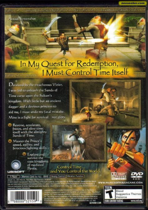 Prince Of Persia The Sands Of Time Ps2 Back Cover