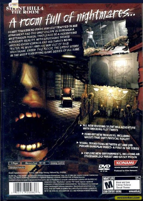 Silent Hill 4 The Room Ps2 Back Cover