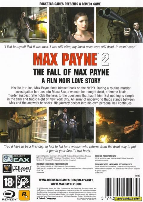 Max Payne 2 The Fall Of Max Payne Pc Back Cover