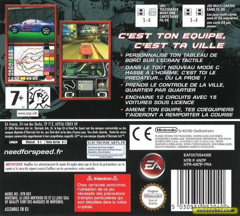 Need For Speed Carbon Own The City Ds Back Cover