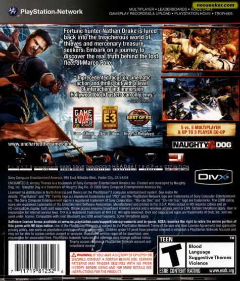 Uncharted 2 Among Thieves Ps3 Back Cover