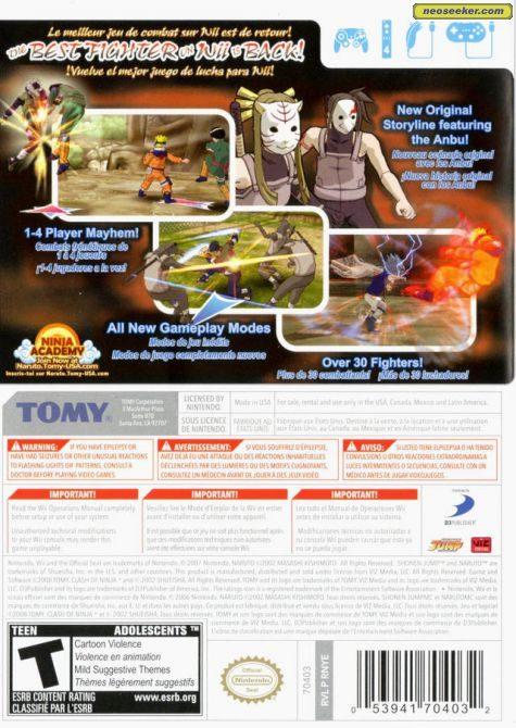 Naruto Clash Of Ninja Revolution 2 Wii Back Cover
