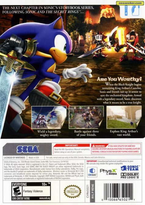 Sonic And The Black Knight Wii Back Cover