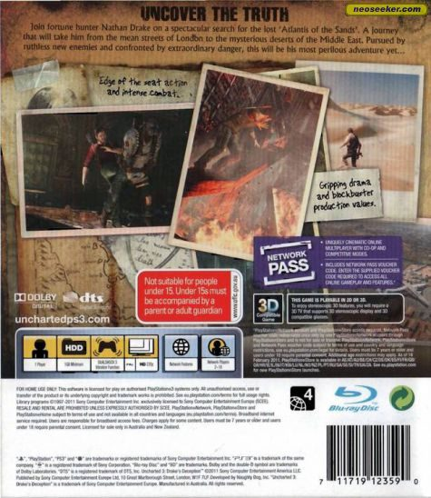 Uncharted 3 Drake S Deception Ps3 Back Cover