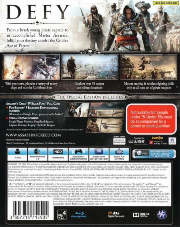 Assassin S Creed Iv Black Flag Ps4 Back Cover