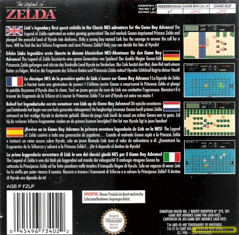 Classic NES Series: The Legend of Zelda - GBA - PAL (Europe)