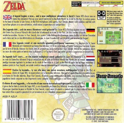 The Legend of Zelda: A Link to the Past GBA Back cover
