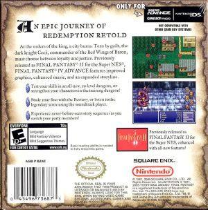Final Fantasy Iv Advance Gba Back Cover