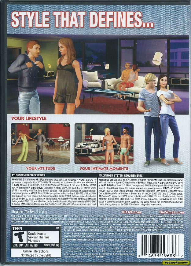 The Sims 3: Diesel Stuff Mac Back cover