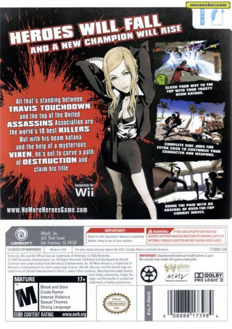No More Heroes - Wii - NTSC-U (North America)