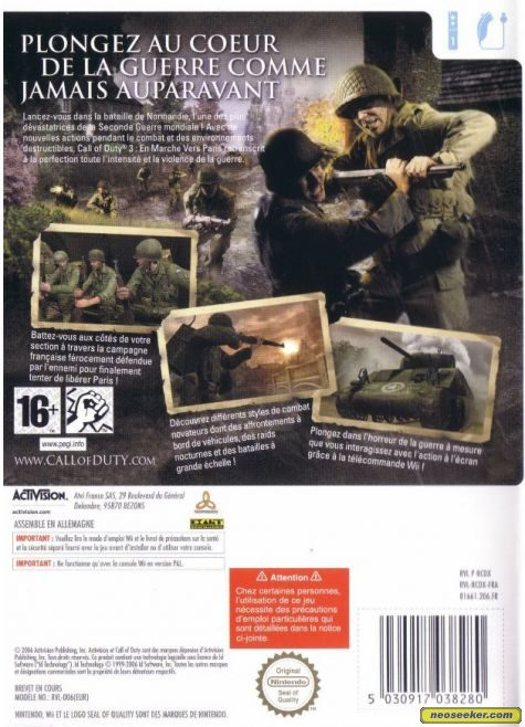 call of duty 3 cover. Call of Duty 3 - Back cover
