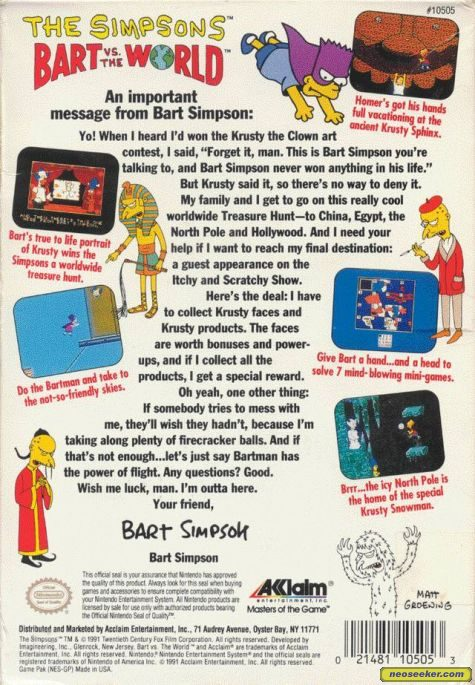 The Simpsons: Bart vs. the World - SEGAMS - NTSC-U (North America)