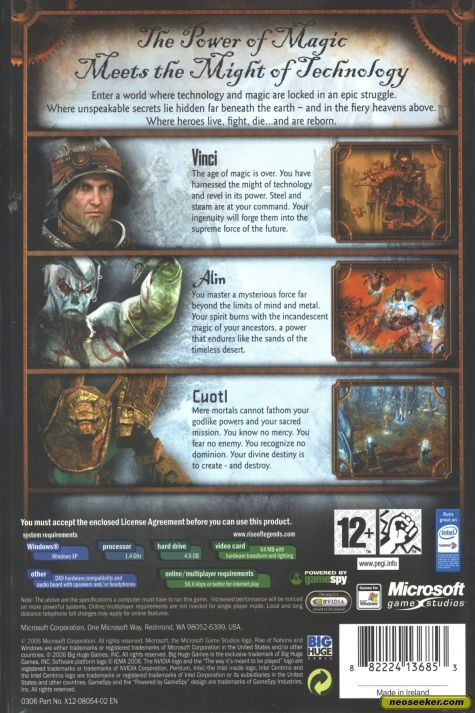 Rise of Nations: Rise of Legends - Back cover