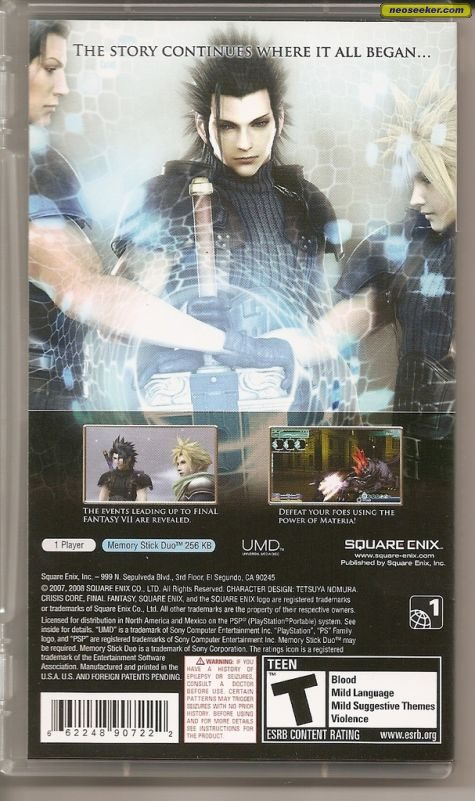 Final Fantasy VII: Crisis Core - PSP - NTSC-U (North America)