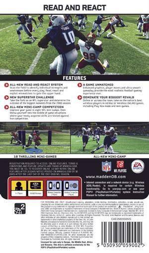 Madden NFL 08 PSP Back cover