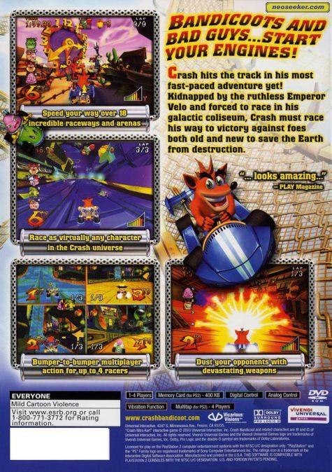Crash Nitro Kart PS2 Back cover
