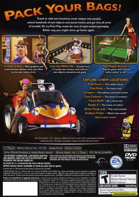 The Sims Bustin' Out PS2 Back cover