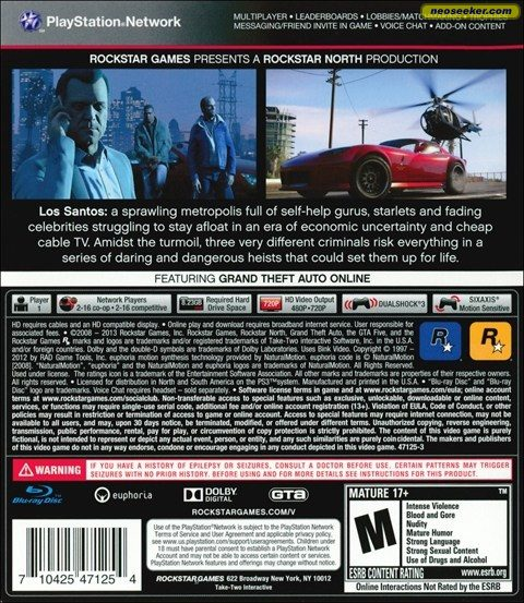 Grand Theft Auto V PS3 Back cover