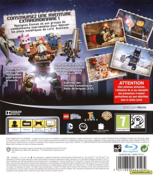 the lego movie videogame ps3 back cover