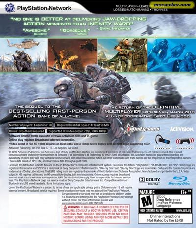 Call of Duty: Modern Warfare 2 - PS3 - NTSC-U (North America)