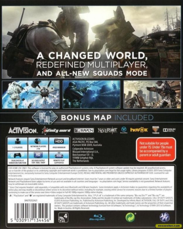Call of Duty: Ghosts PS4 Back cover