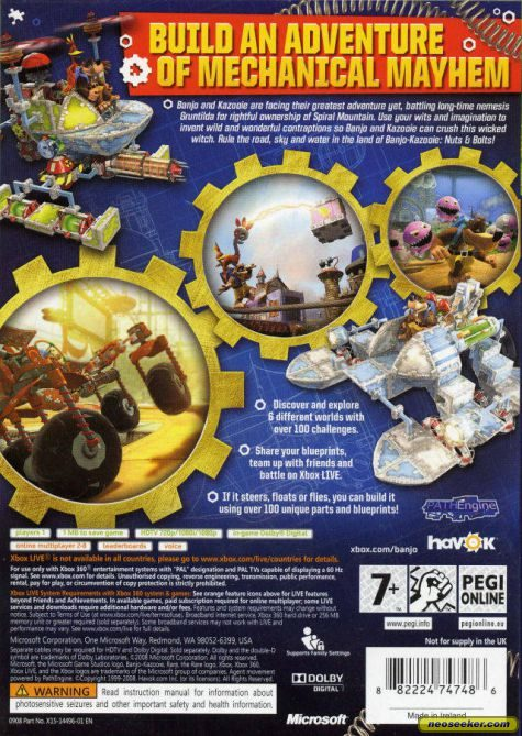 Banjo-Kazooie: Nuts & Bolts XBOX360 Back cover