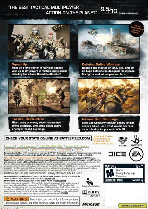 sale retailer 3c7d7 9818c Battlefield: Bad Company 2 XBOX360 Back cover