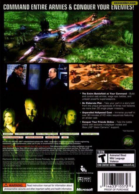 command conquer 3 tiberium wars xbox360 back cover rh img neoseeker com Command and Conquer 4 command and conquer 3 manual pdf