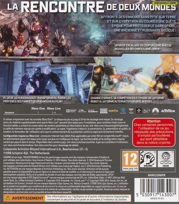 Transformers: Rise of the Dark Spark XBOXONE Back cover