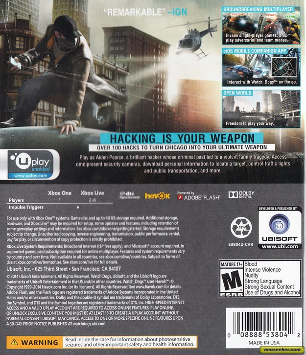 Watch Dogs XBOXONE Back cover