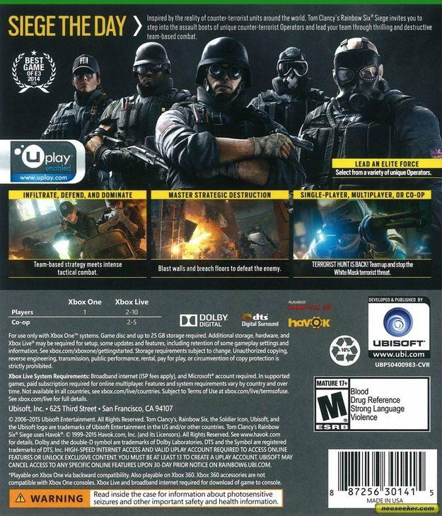 Tom Clancy's Rainbow Six Siege XBOXONE Back cover