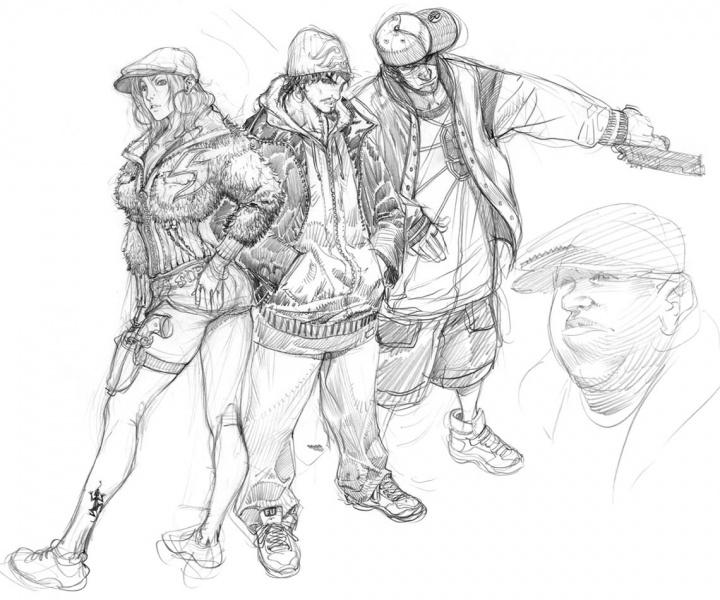 Video game concept art sketches