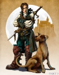 Hero and Dog in Colour - Fable II Concept art