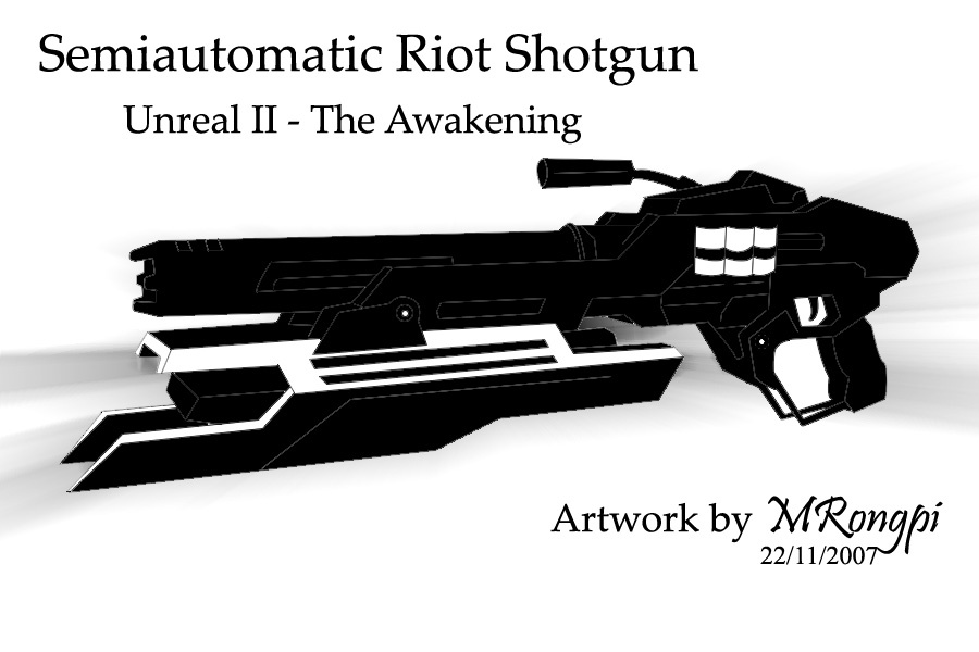 Semiautomatic Riot Shotgun - Lineart