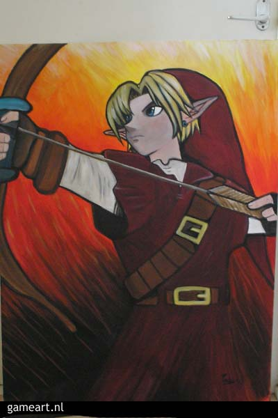 Big painting of Link in fire temple