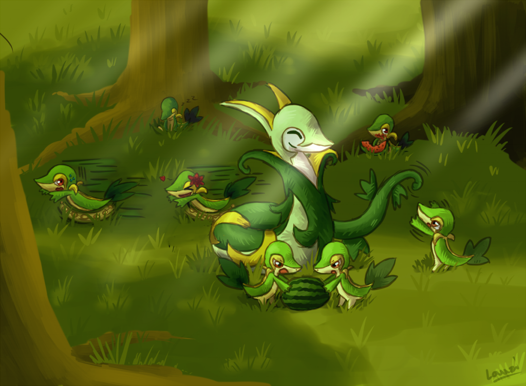 """Serperior/Snivy Family"" by Lauzi"