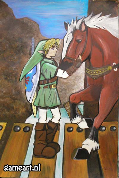 """Link and Epona on Gerudo bridge"" by Artist"
