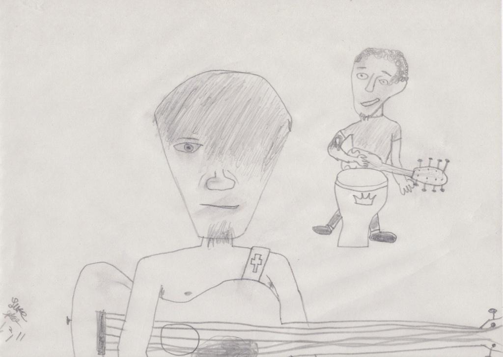 Me and my pal playing Rockband.