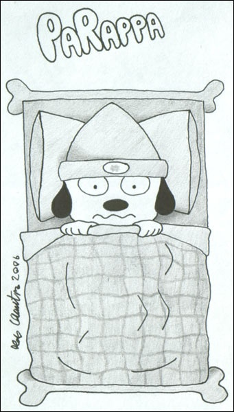 PaRappa in bed