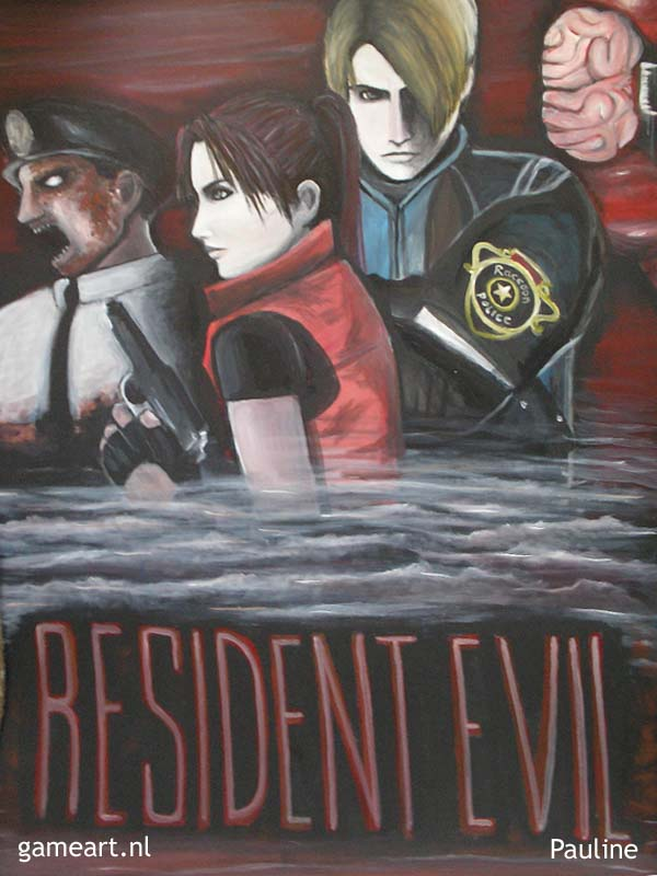 Big painting of Leon and Claire in Resident Evil Darkside Chronicles