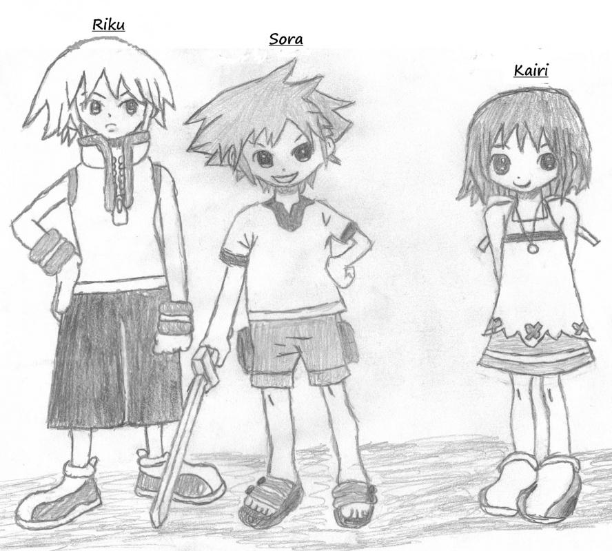 Young Sora, Riku, and Kairi