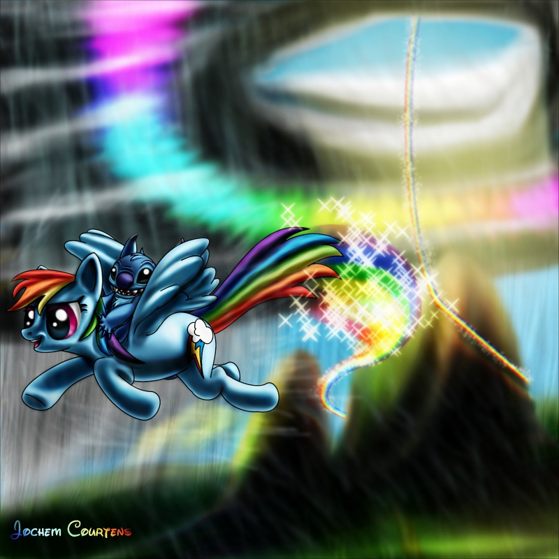 """Stitch & Rainbow Dash."" by Stitch"