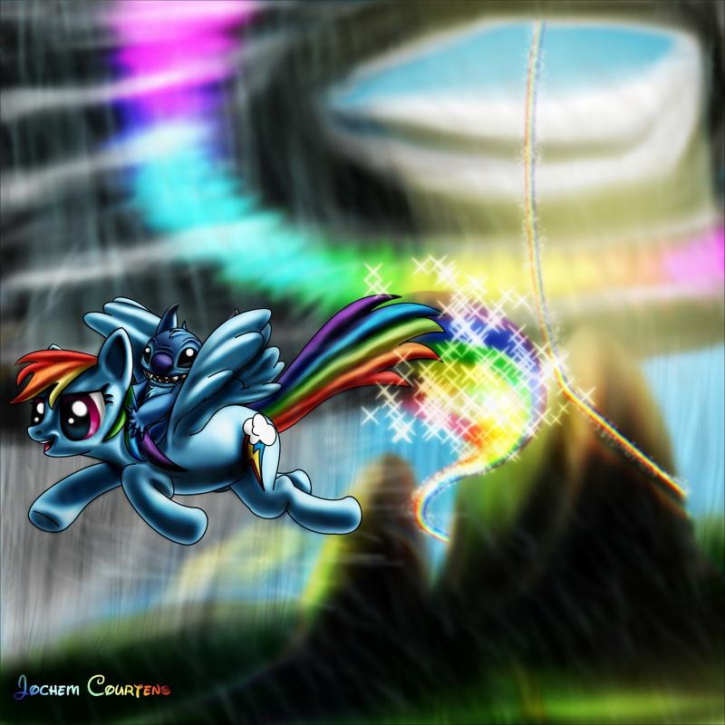 Stitch & Rainbow Dash.