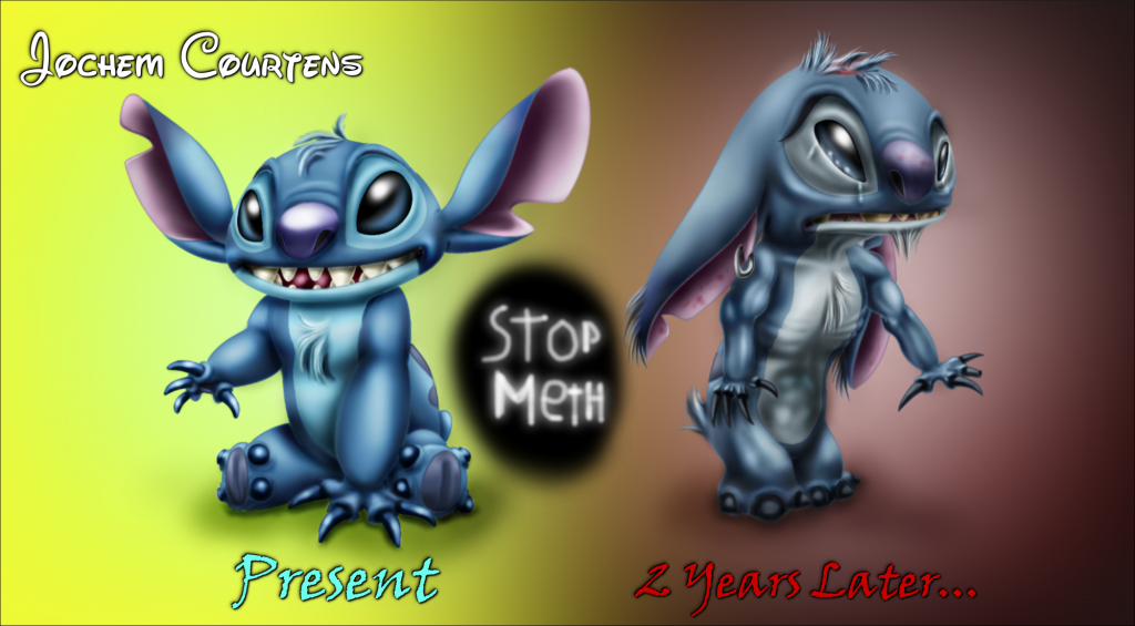Stitch before and After Meth.