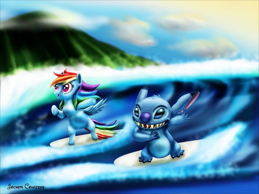 """Surfing Stitch and Dash."" by Stitch"
