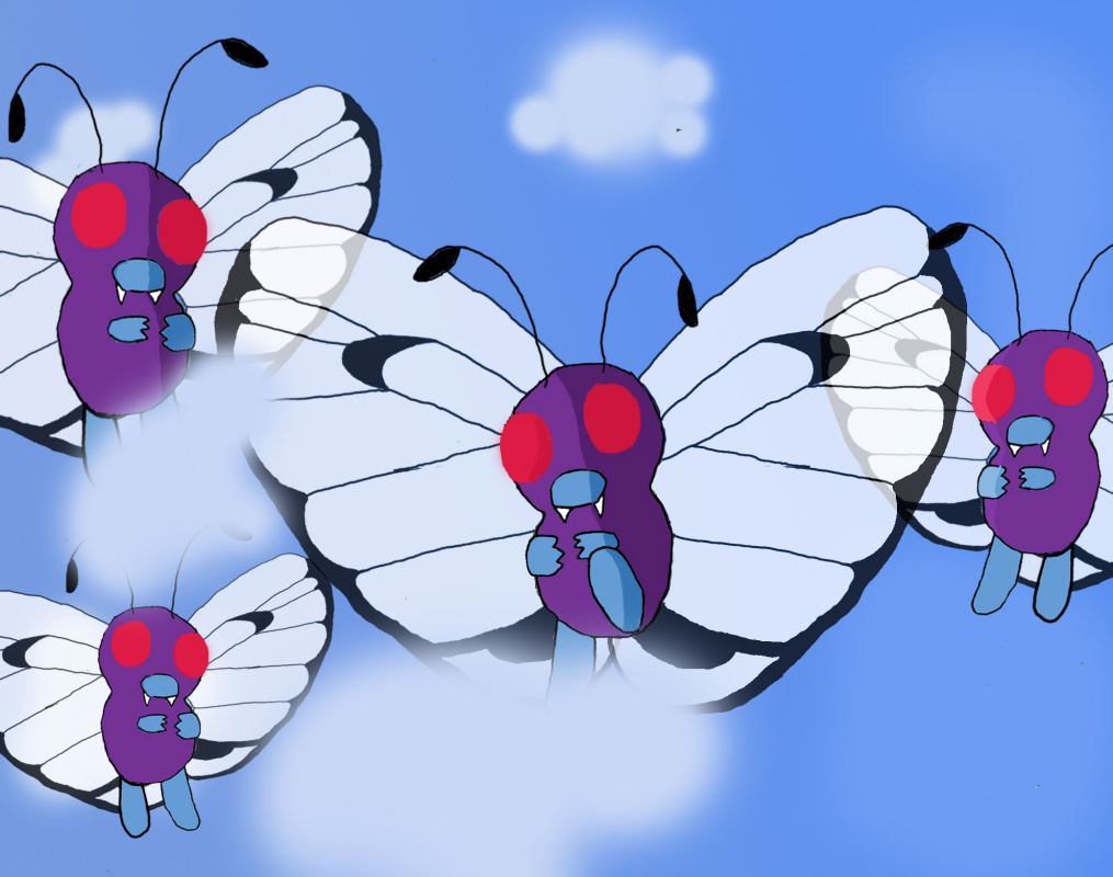 """a flock of butterfree"" by spyro1432"
