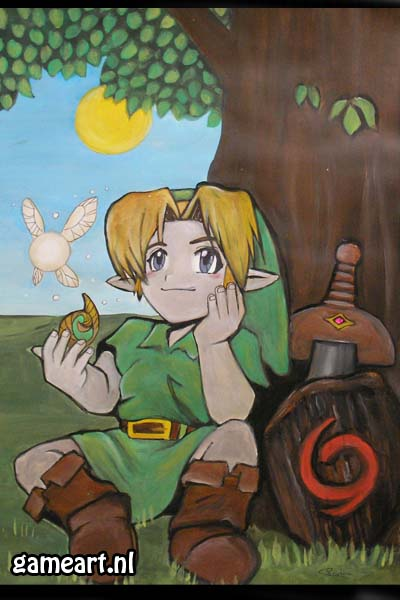"""Link chilling under tree"" by Artist"
